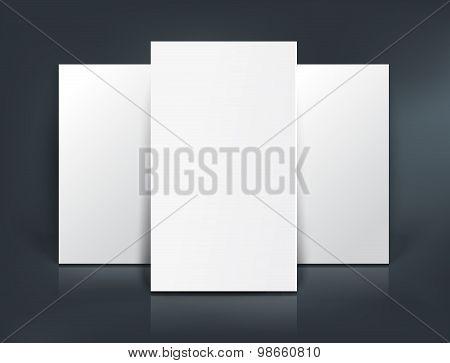 Three paper sheets mockup. Vector illustration