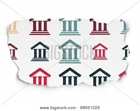 Law concept: Courthouse icons on Torn Paper background