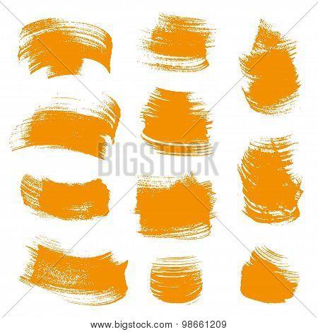 Orange Gouache  Smears Set Isolated On A White Background
