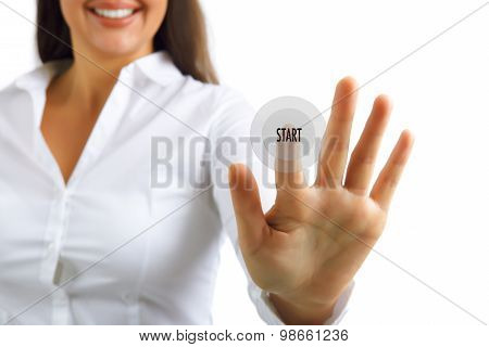 Start Young Business Woman Pushing Button