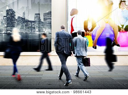 Business People Walking Commuter Travel Motion City Concept
