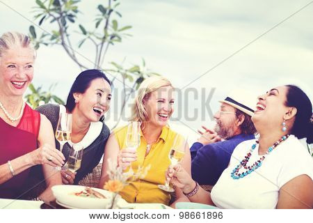 Diverse Neighbors Drinking Party Rooftop Concept