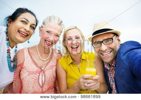 Diverse Neighbors Drinking Party Concept