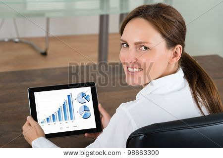 Businesswoman With Digital Tablet Showing Graphs