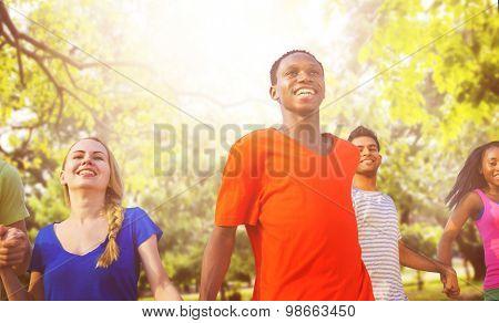 FriendsFriendship Holding Hands Cheerful Concept