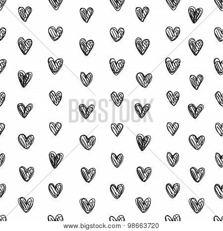 Seamless Pattern Of Abstract Small Hearts Of Thin Black Lines On A White Background