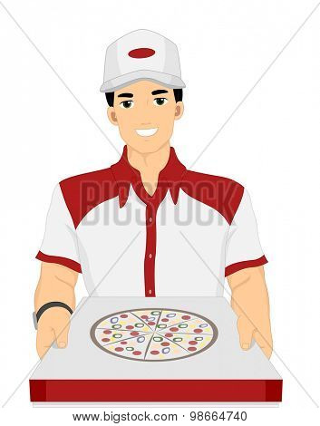 Illustration of a Delivery Guy Handing Over a Box of Pizza