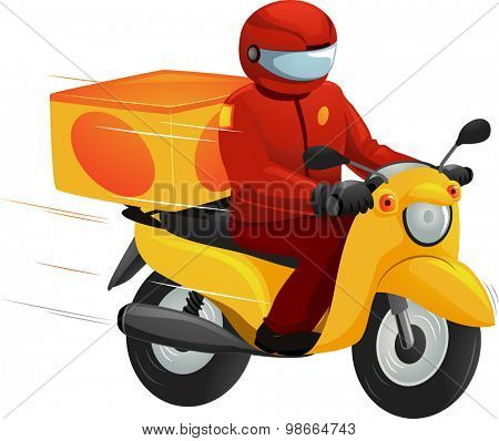 Illustration of a Delivery Man Driving a Motorcycle