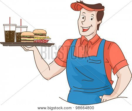 Retro Illustration of a Waiter Holding a Tray of Fast Food