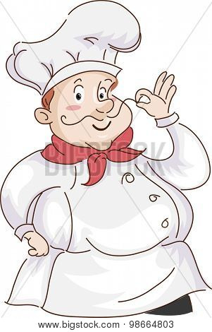 Retro Illustration of a Chef Playing with His Moustache
