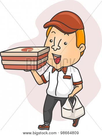 Illustration of a Delivery Man Carrying Boxes of Pizza