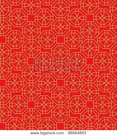 Golden seamless Chinese window tracery polygon geometry line pattern background.