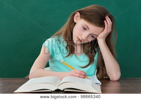 Thoughtful Girl Reading Books