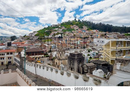View showing historical old part of Quito shot from San Diego church with the famous Panecillo mount