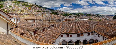 Beautiful view from San Diego church showing old part of Quito rooftops typical spanish colonial arc