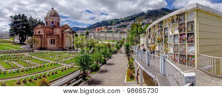 Panoramic view of San Diego church cemetary in Quito showing main building dome, tomb graves and gra