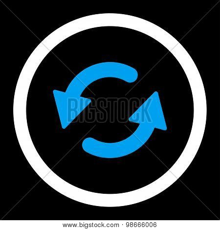 Refresh Ccw flat blue and white colors rounded vector icon