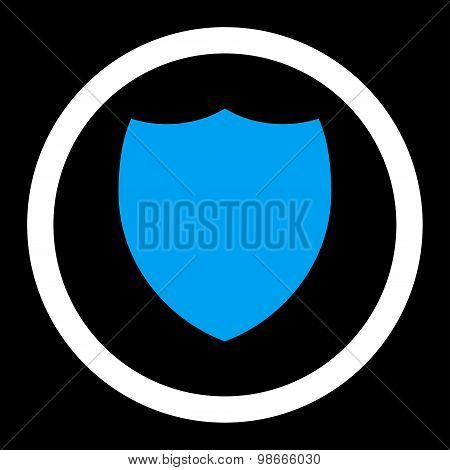 Shield flat blue and white colors rounded vector icon