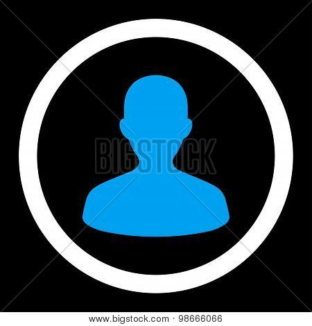 User flat blue and white colors rounded vector icon