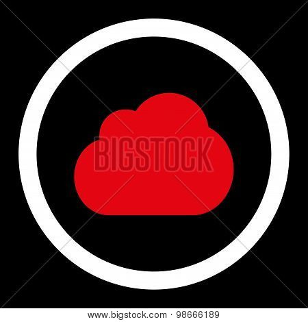 Cloud flat red and white colors rounded vector icon