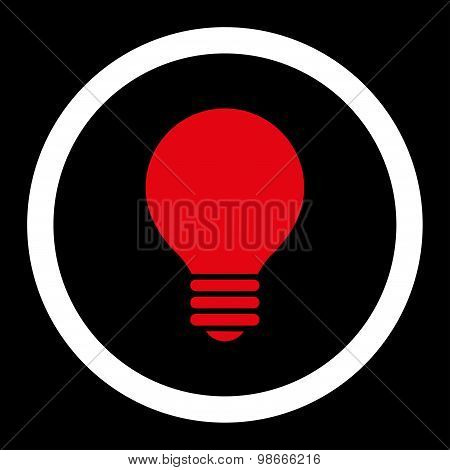 Electric Bulb flat red and white colors rounded vector icon