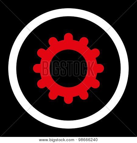 Gear flat red and white colors rounded vector icon