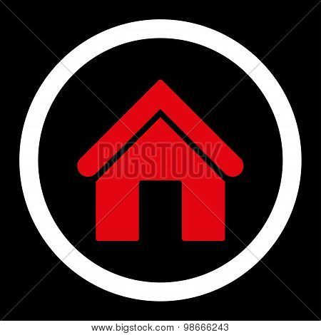 Home flat red and white colors rounded vector icon
