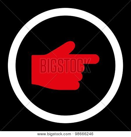 Index Finger flat red and white colors rounded vector icon