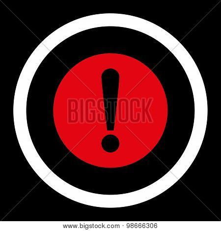 Problem flat red and white colors rounded vector icon