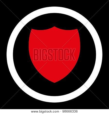 Shield flat red and white colors rounded vector icon