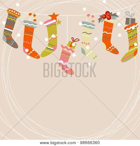 Beige greeting card with Santa socks and snow