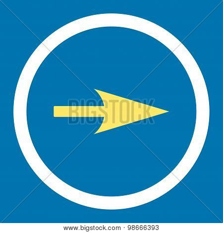 Arrow Axis X flat yellow and white colors rounded vector icon