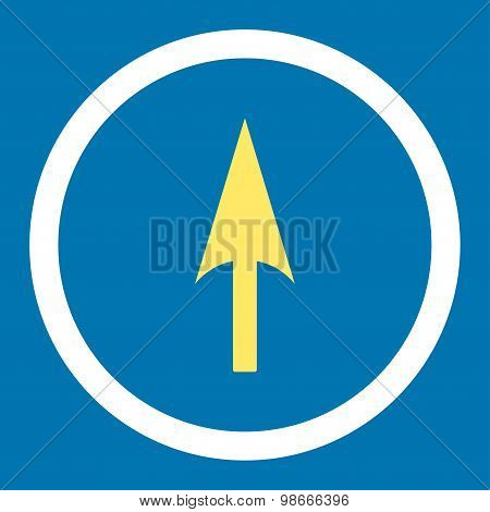 Arrow Axis Y flat yellow and white colors rounded vector icon
