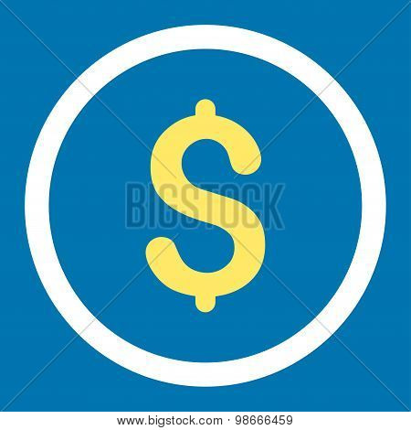 Dollar flat yellow and white colors rounded vector icon