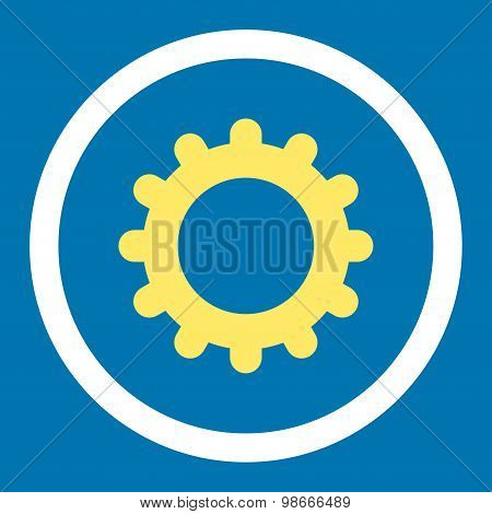 Gear flat yellow and white colors rounded vector icon