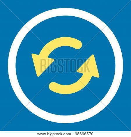 Refresh Ccw flat yellow and white colors rounded vector icon