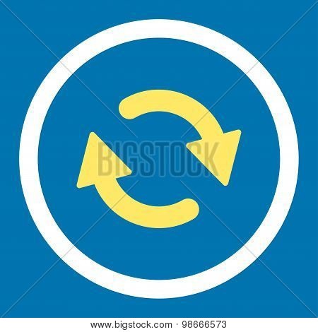 Refresh flat yellow and white colors rounded vector icon
