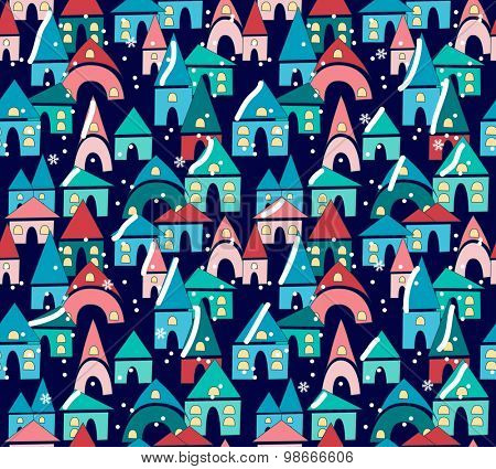 Seamless pattern with evening town in snow