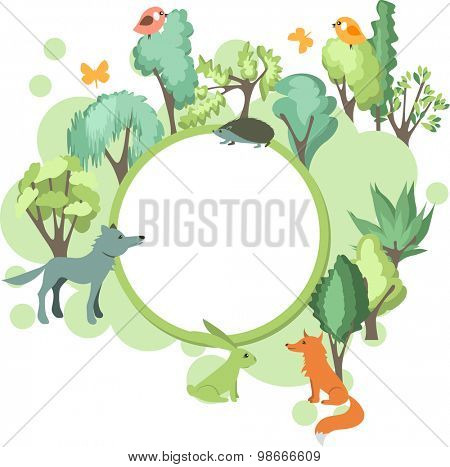 Festive banner with summer forest landscape and wild animals - wolf,fox, hedgehog and hare
