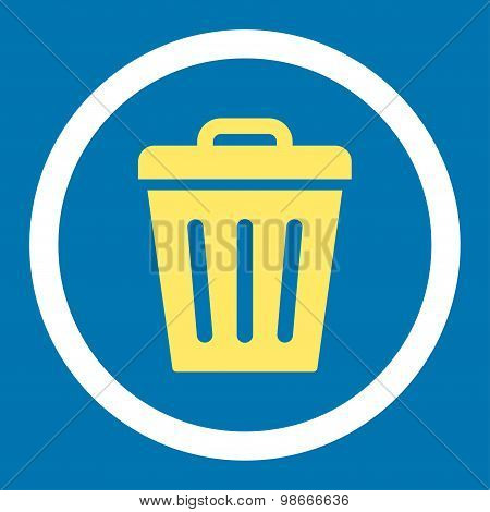 Trash Can flat yellow and white colors rounded vector icon