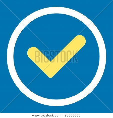 Yes flat yellow and white colors rounded vector icon
