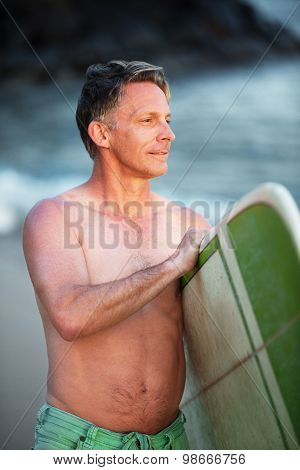 Confident Man With Green Surfboard