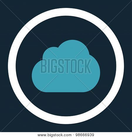 Cloud flat blue and white colors rounded vector icon