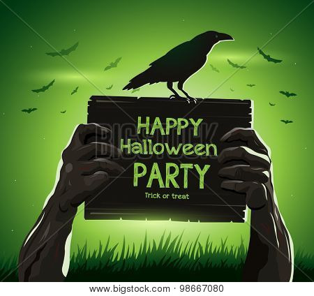 Halloween vector illustration zombie's arms from the ground with invitation banner party