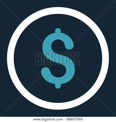 Dollar flat blue and white colors rounded vector icon