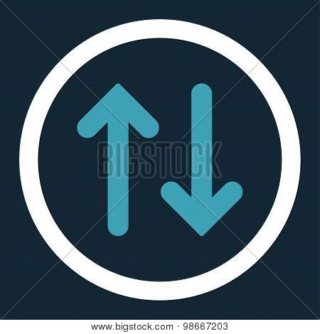 Flip flat blue and white colors rounded vector icon