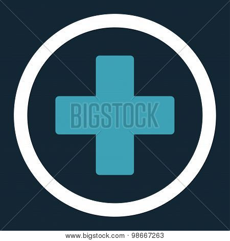 Plus flat blue and white colors rounded vector icon
