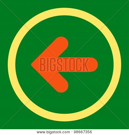 Arrow Left flat orange and yellow colors rounded vector icon