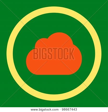 Cloud flat orange and yellow colors rounded vector icon