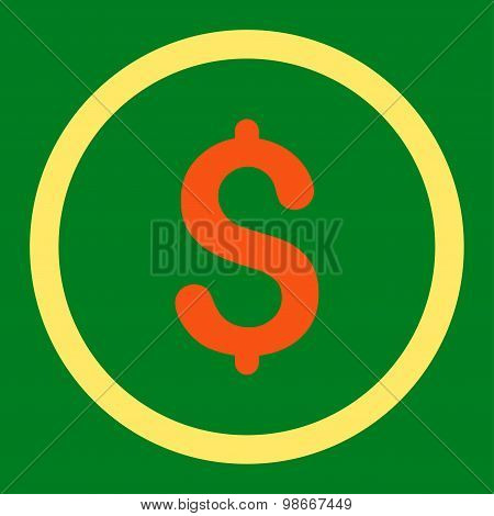 Dollar flat orange and yellow colors rounded vector icon